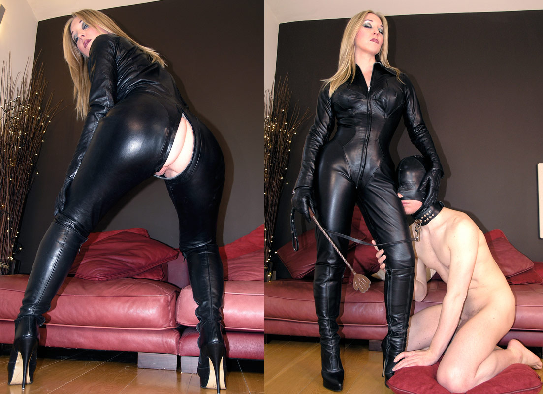 English mansion fucked in leather jeans