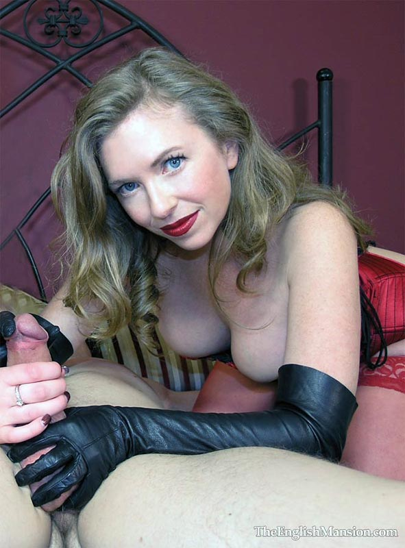 Leather gloved handjob pics, black girl loving white cum