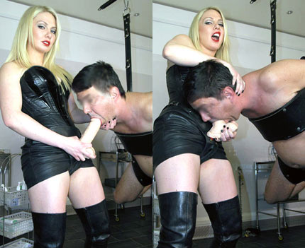 Young mansion mistress trains depted boy into a slave 6
