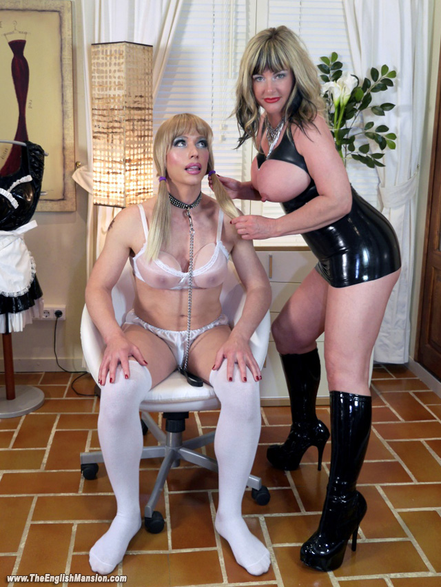 Busty mistress in passionate action with young slave