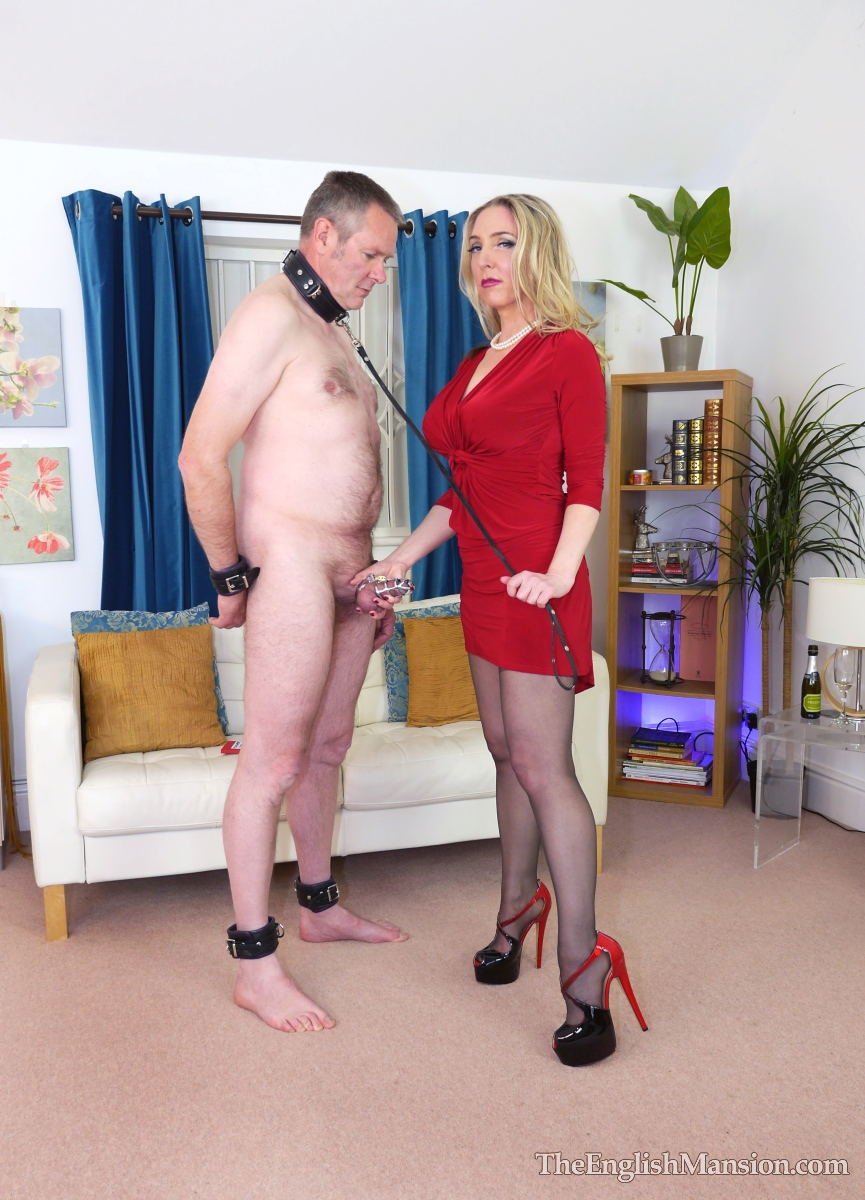 Milf in pantyhose holds her husband by his cock