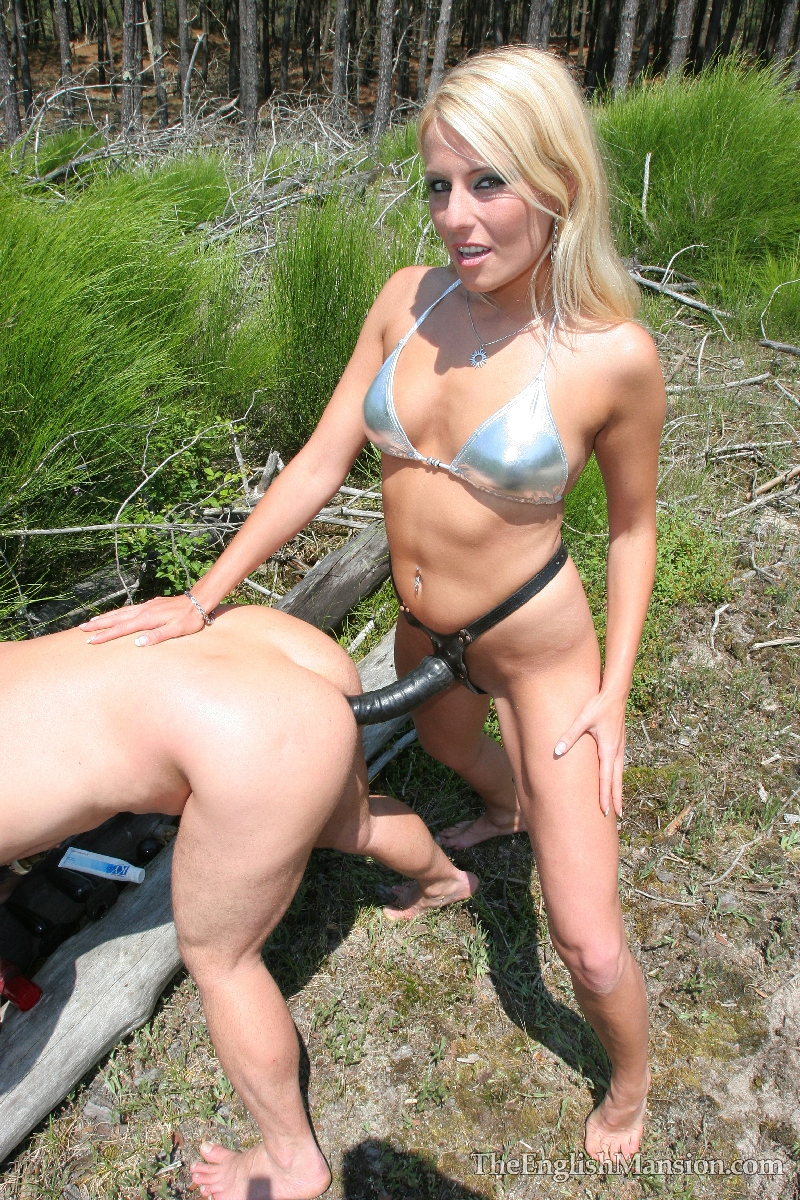 Anally abused outdoors by a hot blonde milf