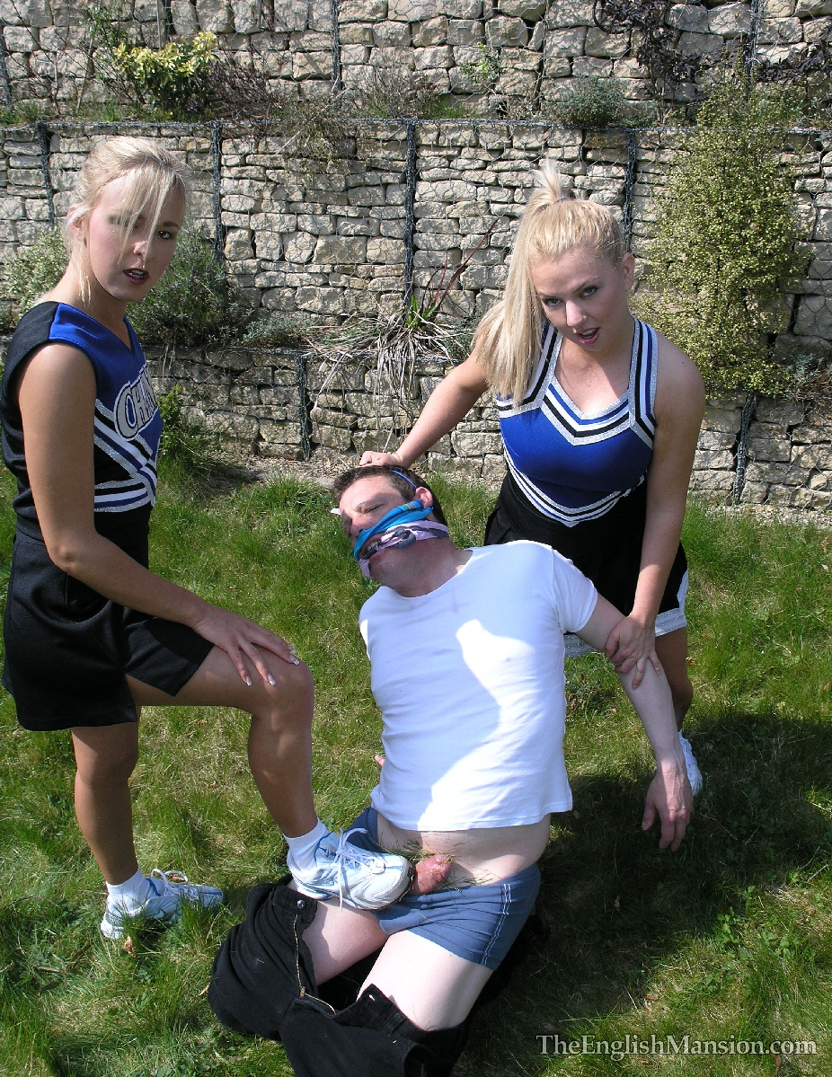 Milked by two blonde cheerleaders