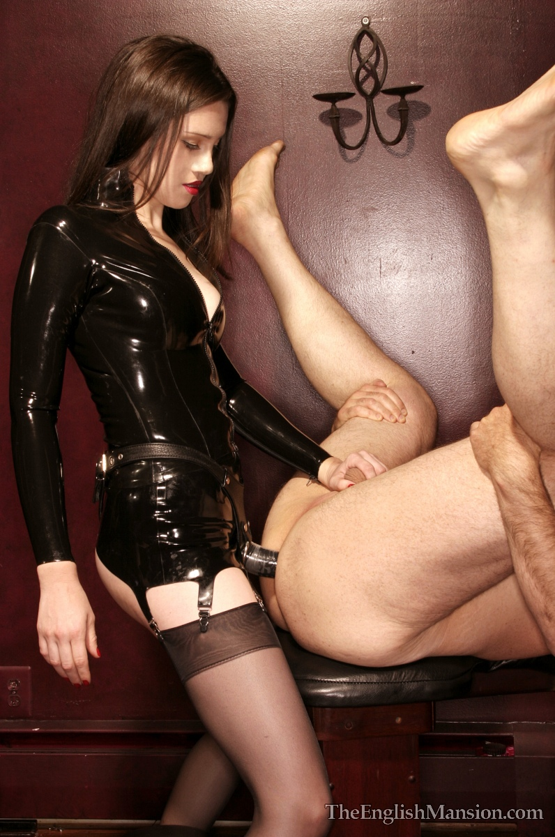 Pegged by a milf in PVC