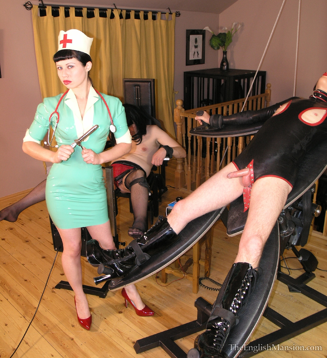 Milf nurse gives enema
