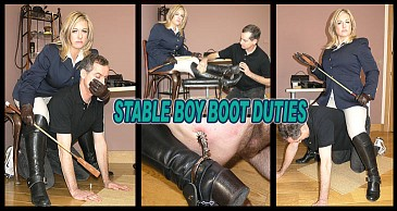 Stable Boy Boot Duties:Featuring Lady Nina Birch